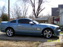 2007 Mustang GT, 5 speed, Steeda CAI carbon fiber inlet, Granitelli twin 62mm Throttle Body, JBA Long Tubes, JBA Catted H-pipe, SLP axel back, under drive pullys, 4.10's CDC duck tail, front spoiler, HID's, halo fog lights, led (red) dome lights, custom interior.
