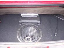 custom sub box in the trunk...no more spare tire!
