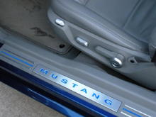 Door sills with reflective blue stripes and lettering.  Satin aluminum accents by Scott Drake.