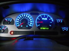 gauges with blue LEDs (currently in car)
