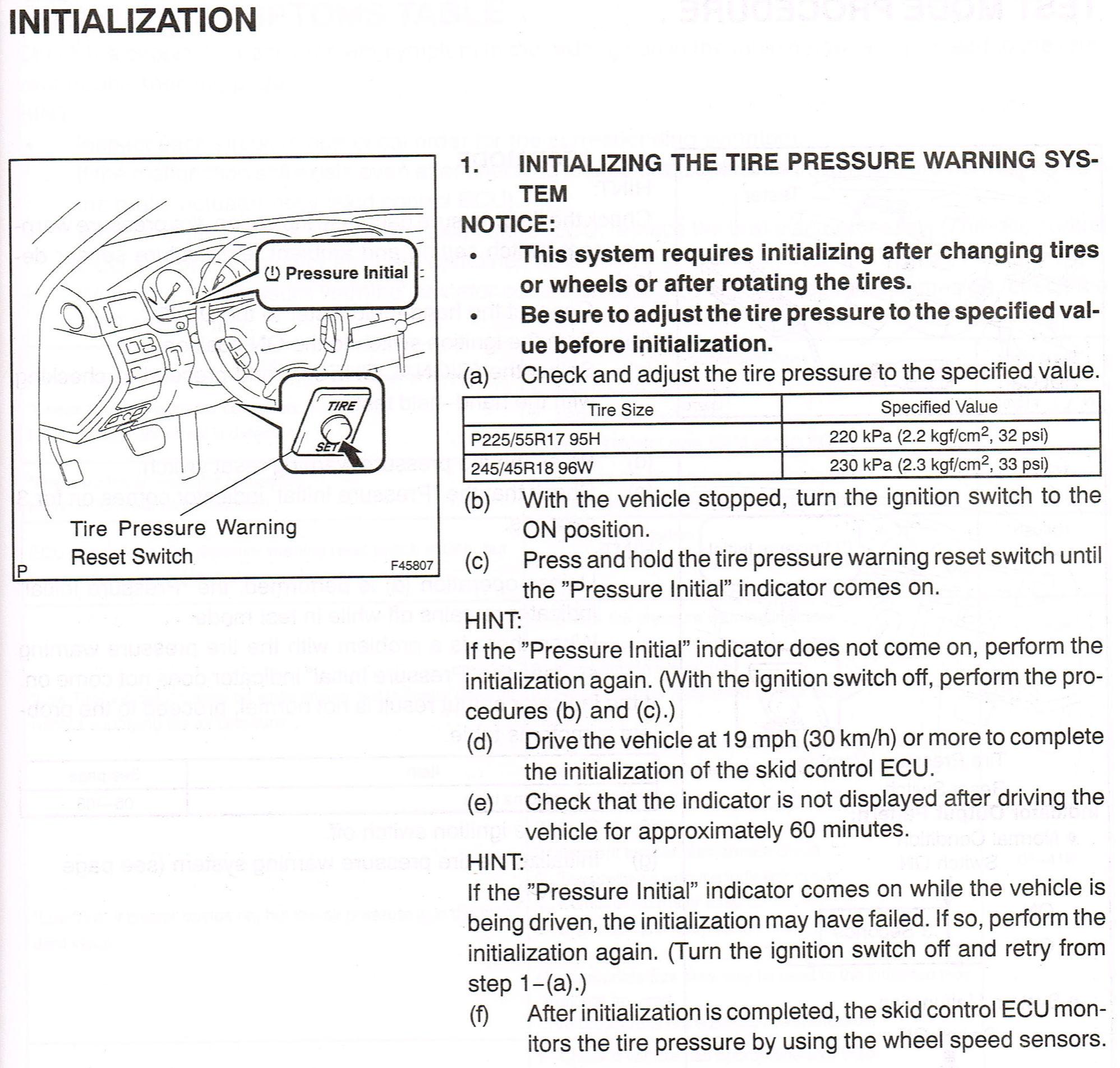 Lexus TPMS Reset Questions