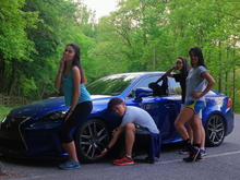 After hiking my friends posed next to my car lol 6/19/16