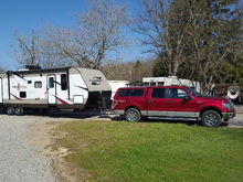 With propane full, wd/sc hitch and battery.  trailer weighs 8200.  Mfg listed at  dry weight @7500. Were set up at a seasonal site.