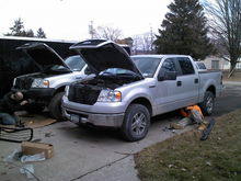 My truck getting brush guard and my cousins getting running boards