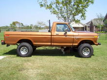 I really should restore it but I'm just amazed at how well the factory paint has stood the test of time.  I would like to resore it with original paint and chrome OEM bumpers.  Those are 35x12.5x15's on a six inch spring lift, no blocks.