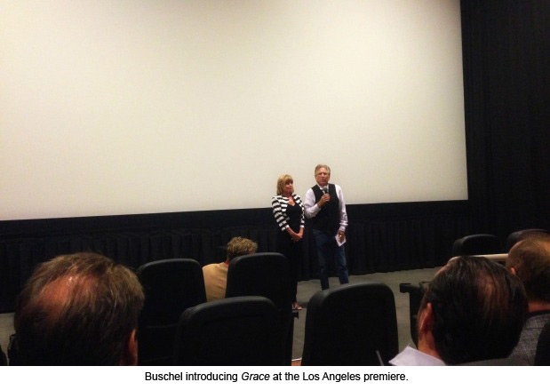 Buschel introducing Grace at the Los Angeles premiere