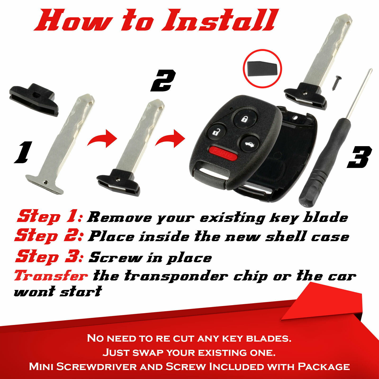 SUCCESS! Honda Accord Style Key Fob With Immobilizer