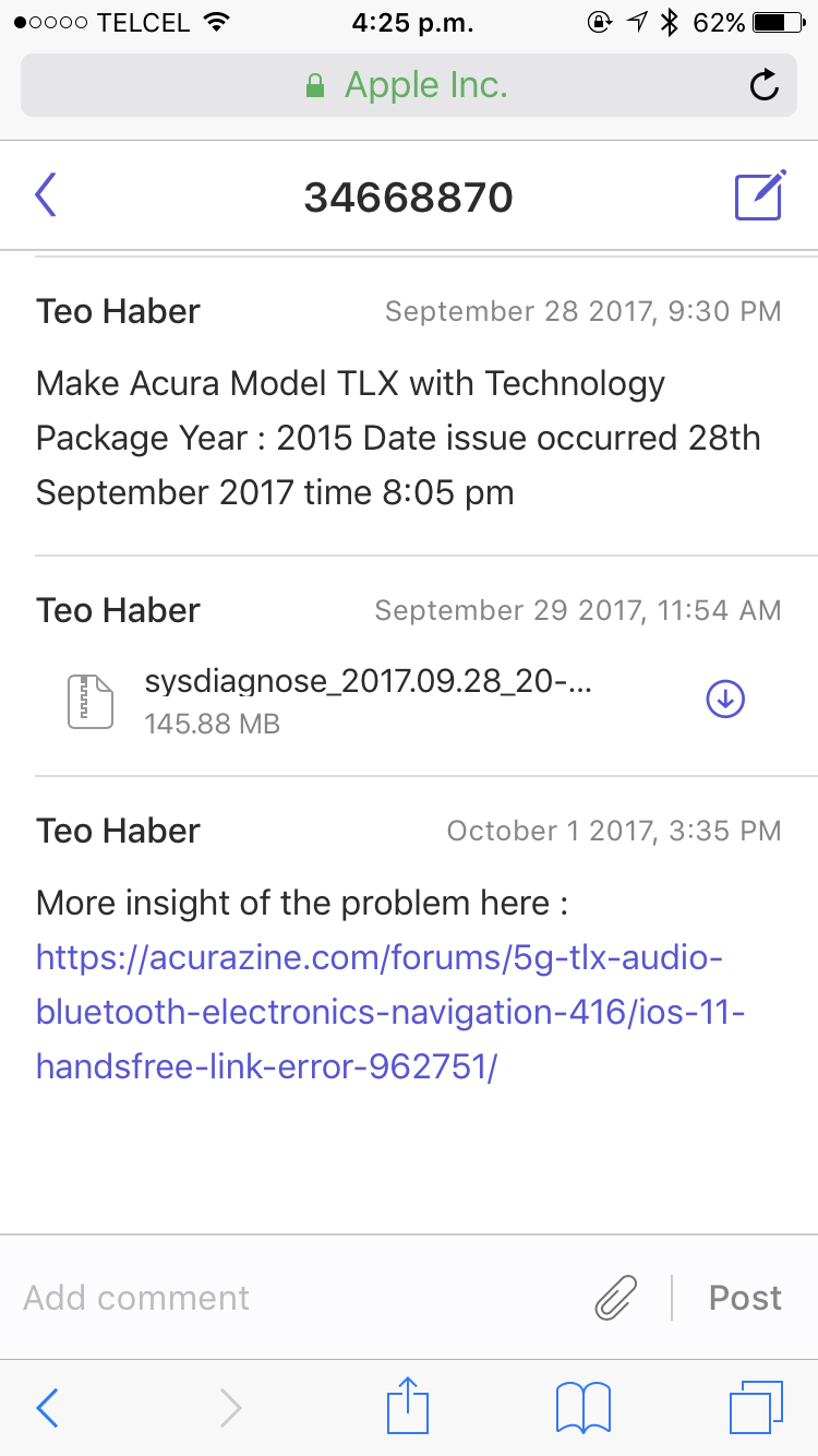 iOS 11 Handsfree link error  - AcuraZine - Acura Enthusiast