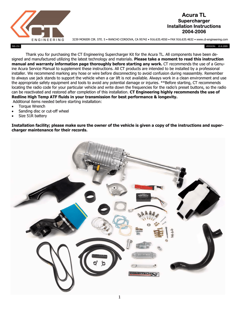 Comptech Supercharger PDF Installation - AcuraZine - Acura ...
