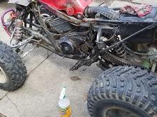 Supposedly put three wheeler motor on four wheeler frame.