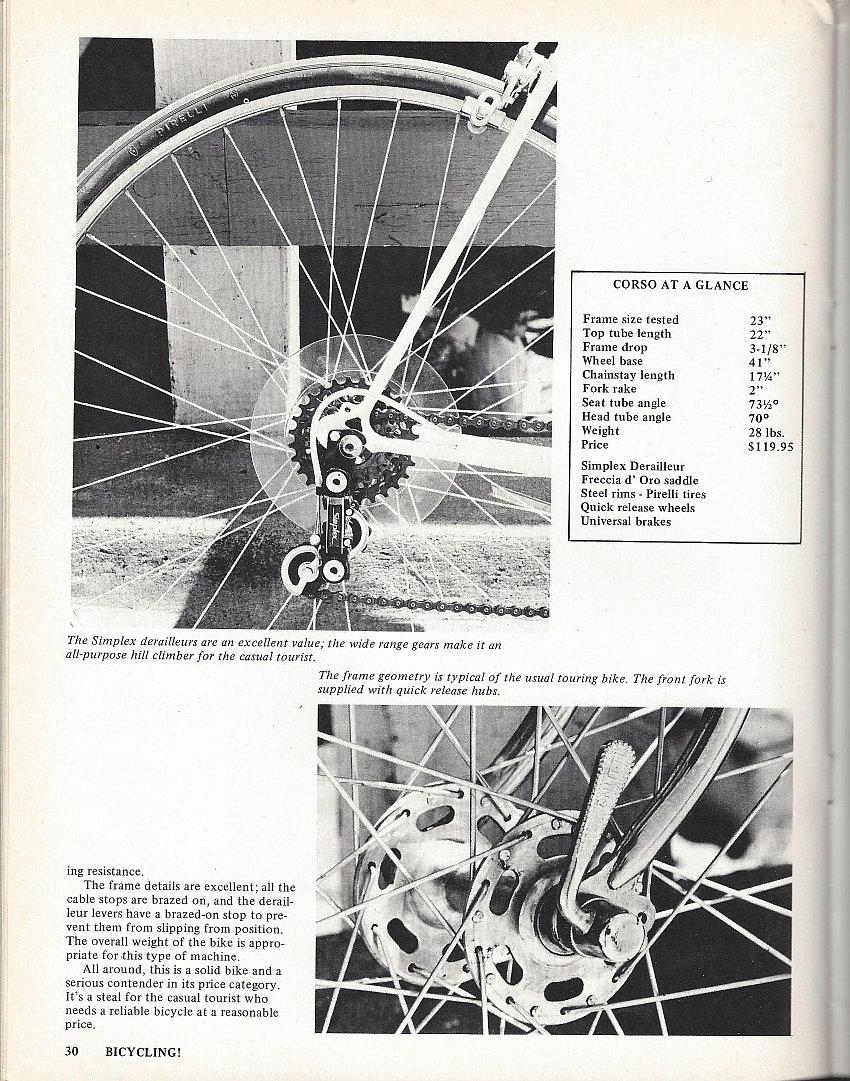Road Test/Bike Review (1972) Corso - Bike Forums