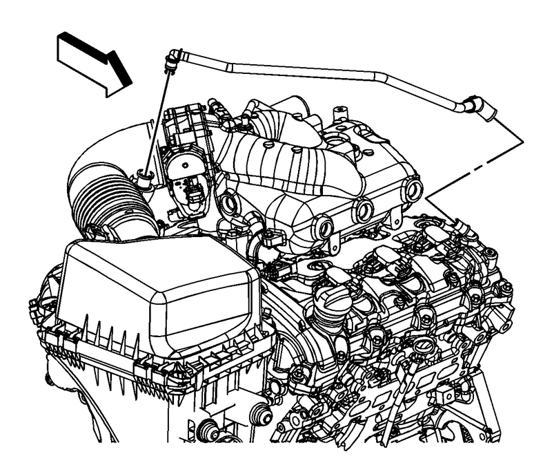 of the left (front) cylinder head to the big air intake hose (see  picture below) just behind where the air intake hose connects to the  throttle body