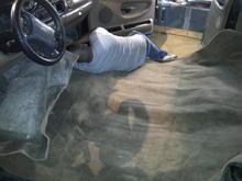 floor installing carpet