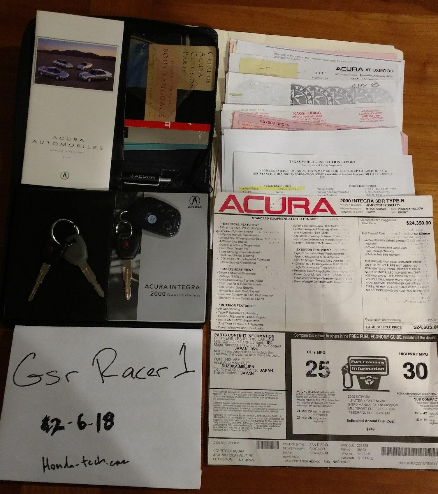 TX 2000 Acura Integra Type R