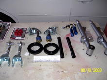 UPR adjustable UCA's and LCA's, poly isos, Steeda bumpsteer kit, UPR caster camber plates, Poly offset steering rack bushings, Steeda X2 ball joints, shorter endlinks with poly bushings.