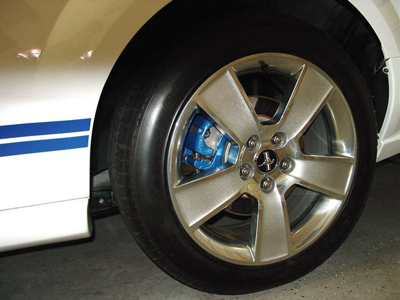 """Painted Brake Calipers on all discs behind '06 18"""" Rims, BFG Rubber. Also, (can't be seen) is the Lower Rear Control arms were changed to the one's on the Shelby's."""