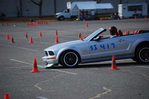 Slamming on the brakes w/ stock suspension.  Soon after, I added to GT500 Coupe suspension.
