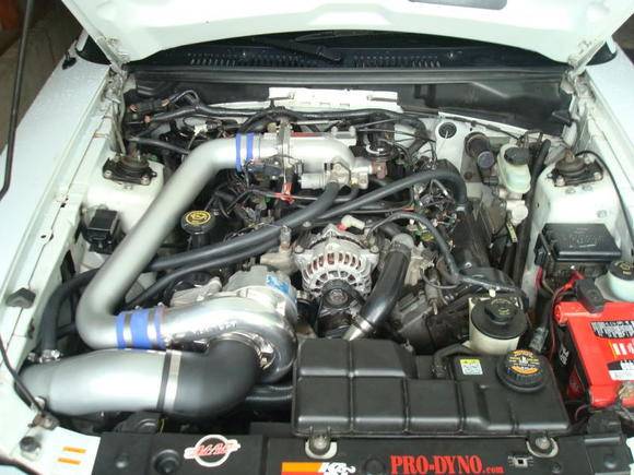 Engine bay with Vortech S-Trim and Powerpipe