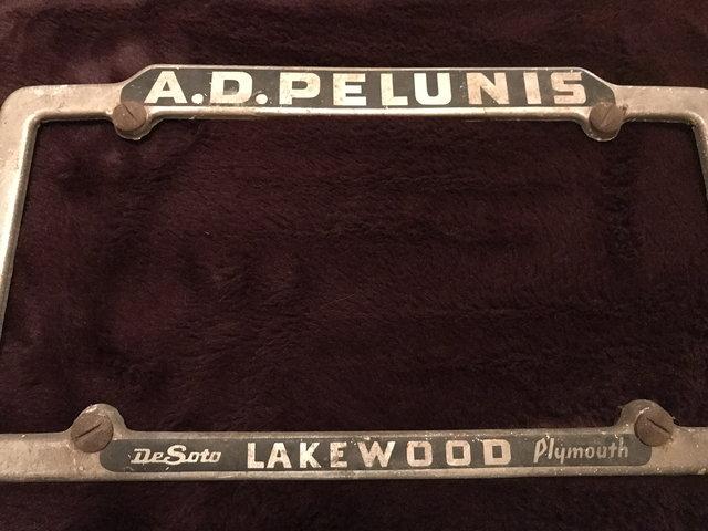 DeSoto dealer plate frame A D Pelunis