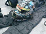 Full racing suit helmet and brace