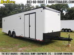 BLACK and WHITE 30' Continental Race Trailer - Spread Axle -
