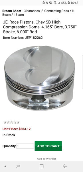 JE SBC Pistons  for Sale $350