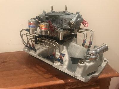 Edelbrock SBC Super Victor w NOS Fogger Holley HP Carb