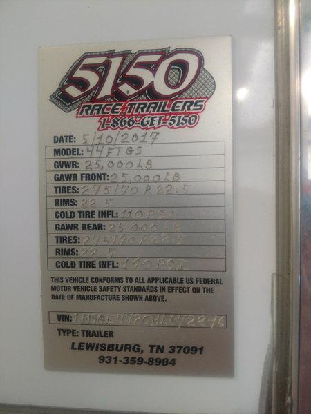 2017 5150 44' LIFTGATE RACE TRAILER  for Sale $160,000
