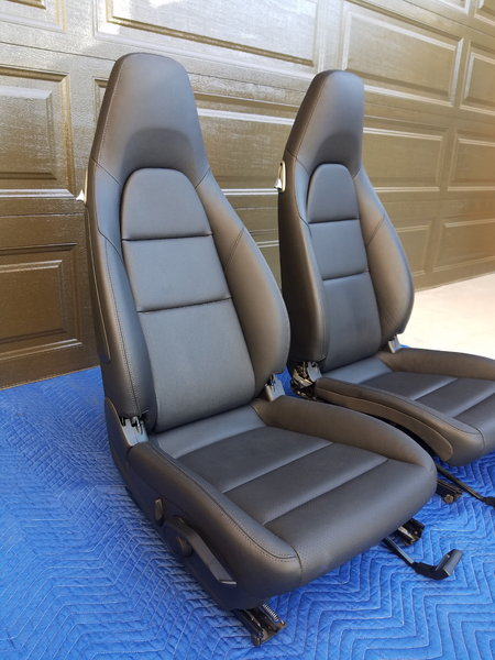 Porsche Cayman 981 OEM power sport seats – blk leather