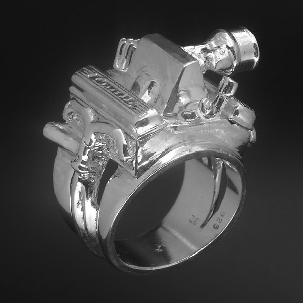 STERLING SILVER 283 FUEL INJECTION ENGINE RING   for Sale $275