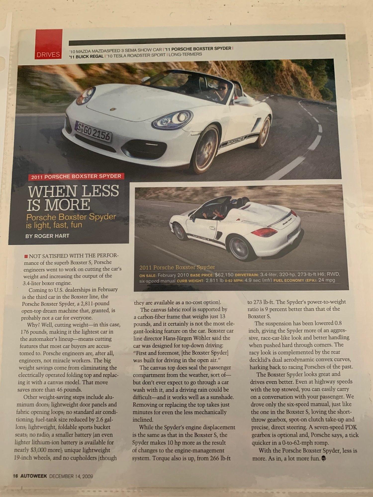 Porsche Hardbound US Sales Brochure 61 Pages Porsche Boxster ...
