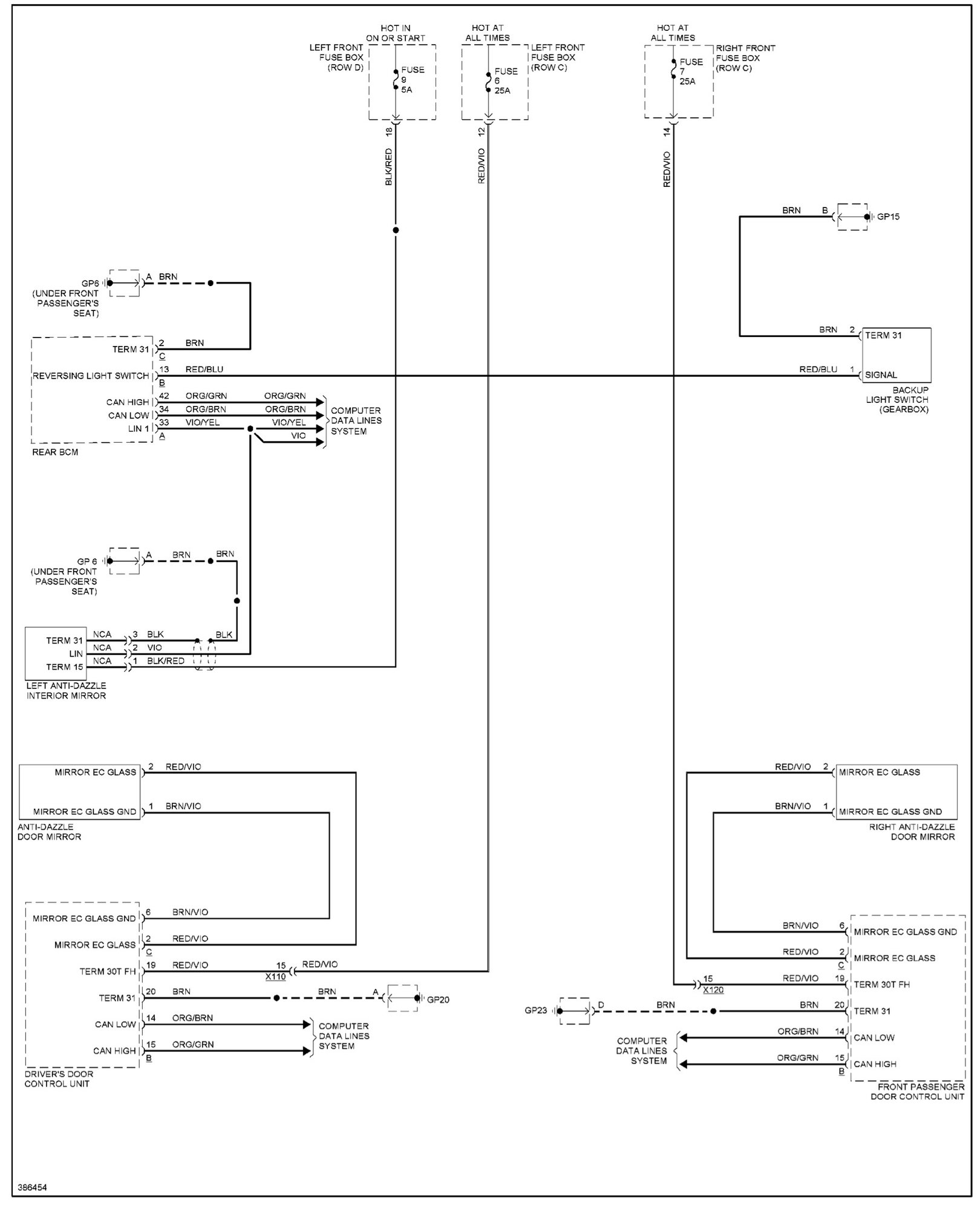 Here's the complete auto dimming wiring diagram:
