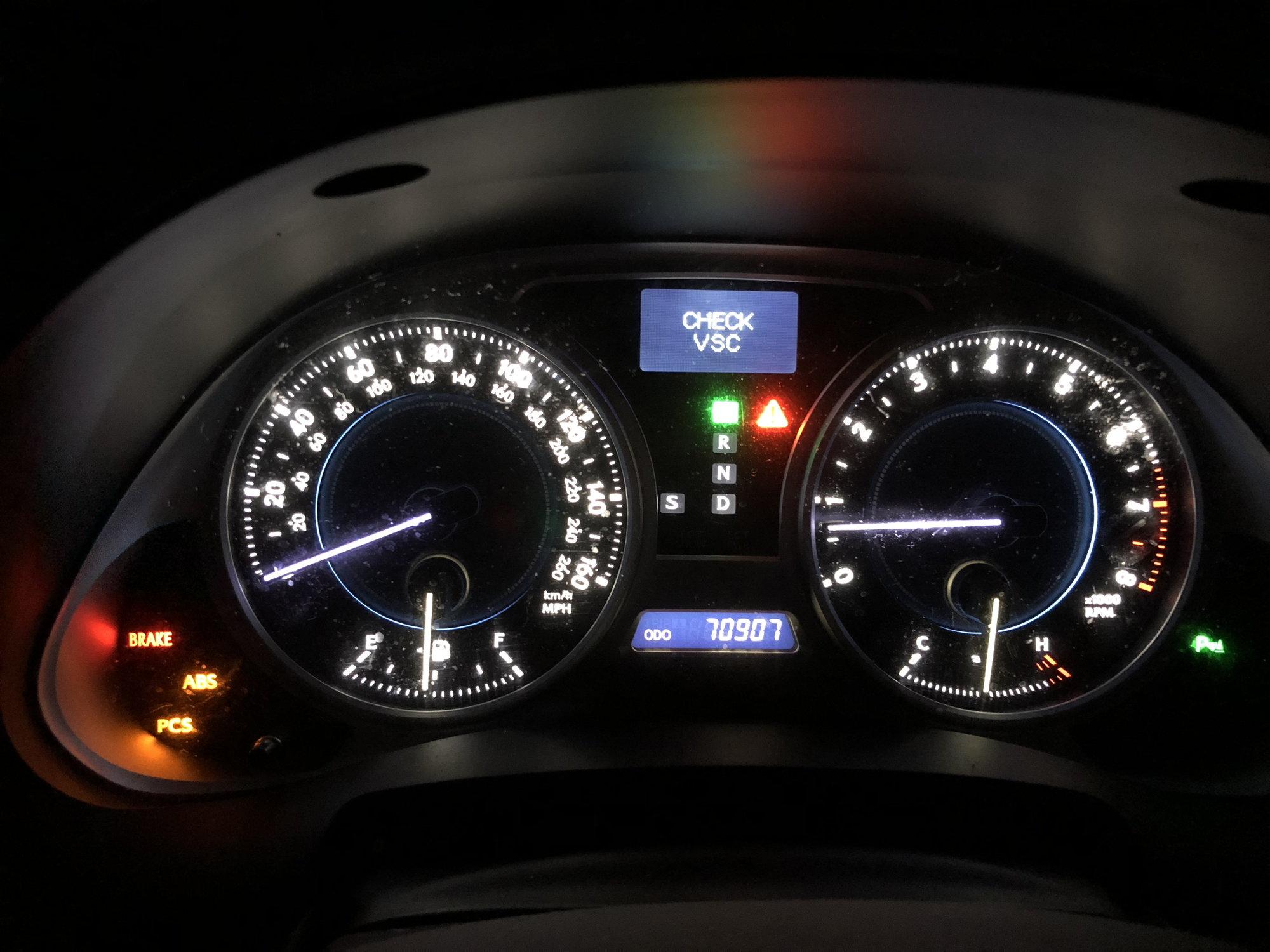 Check VSC, PCS, ABS, Brake Lights. No Check Engine light.