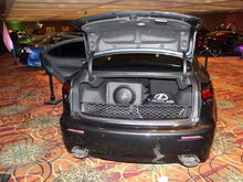 "Single 10"" JL in ported box with a 200 watt amp for rounding off the sound"