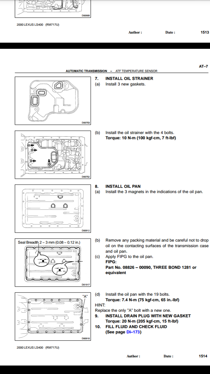 Some images of Shop Manual of AT-5 Lexus wiring diagram depicting Automatic  transmission temperature sensor as resistive component.