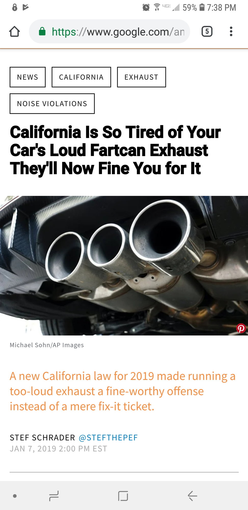 exhaust laws in california
