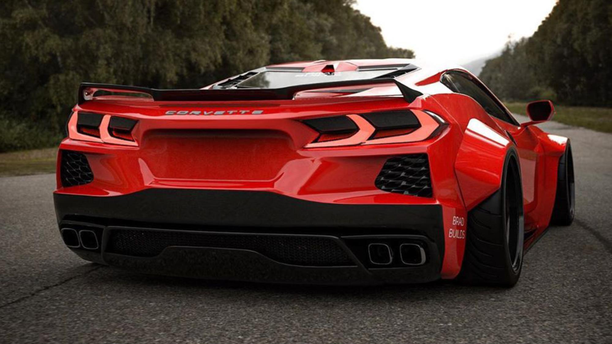 2020 Mid Engine Corvette C8 wide body render ...