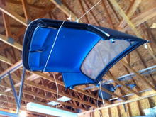hard top hanging in the rafters - before pick up