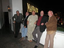 """Jim, Earl, Ted, Benny, and Roger, on the terrace at the Foundation Room. Tracie is taking the picture. This is where """"Spanky"""" was born. Where is Miss Nude Tampa when we need her? This was shortly before our mass eviction. Why would anyone kick this group out of their establishment? Vegas NASCAR party weekend 2008."""