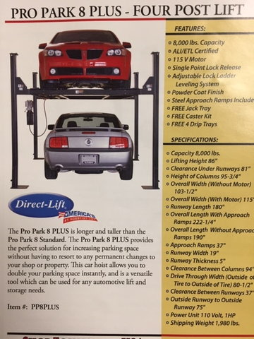 Corvette Hot Rod Drive On Direct Lift For Your Garage