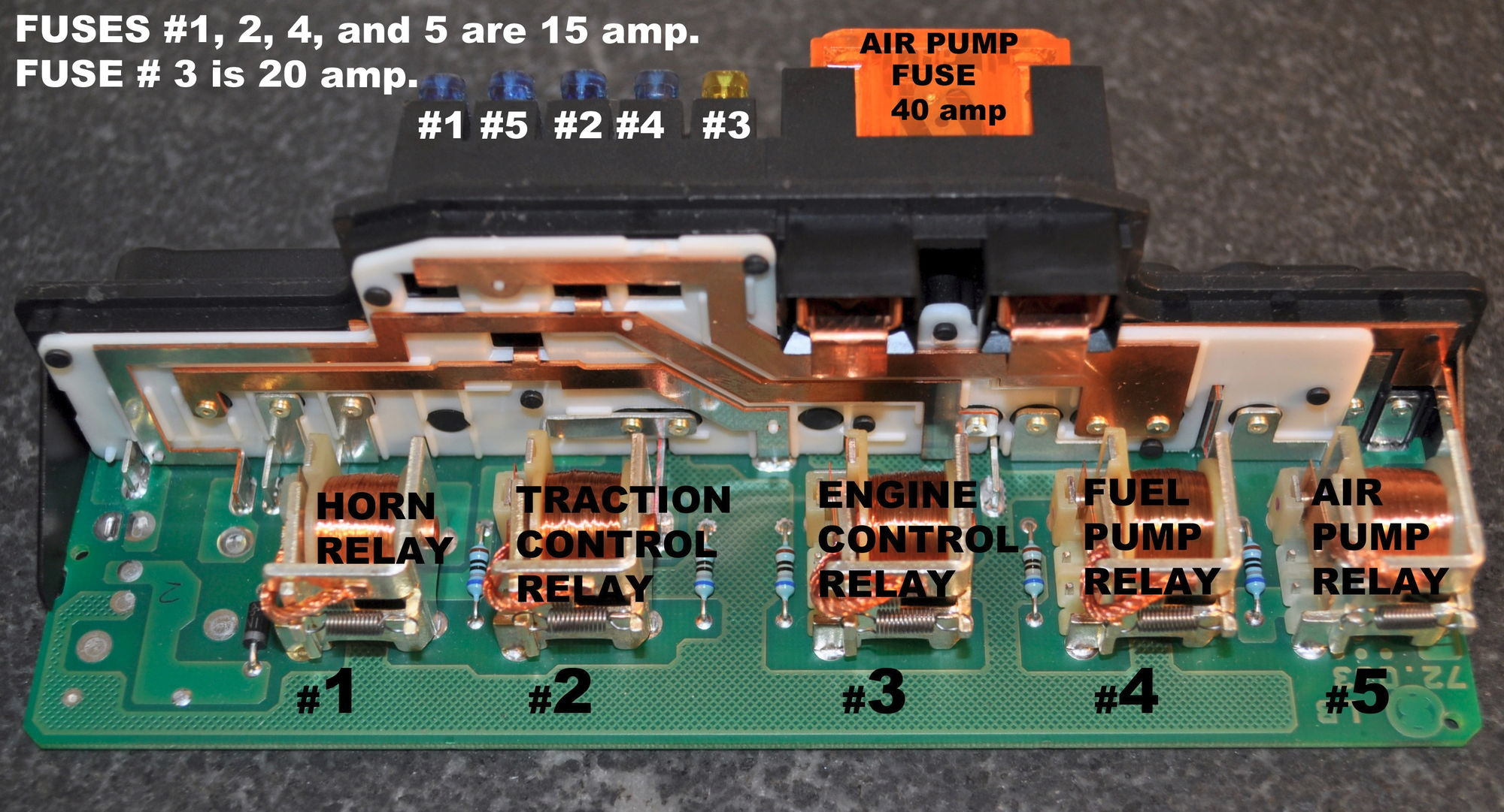 Most likely fuse #1 is blown on the Relay Control Module ( RCM or K40 )  inside the box by the battery, or the relay is bad :