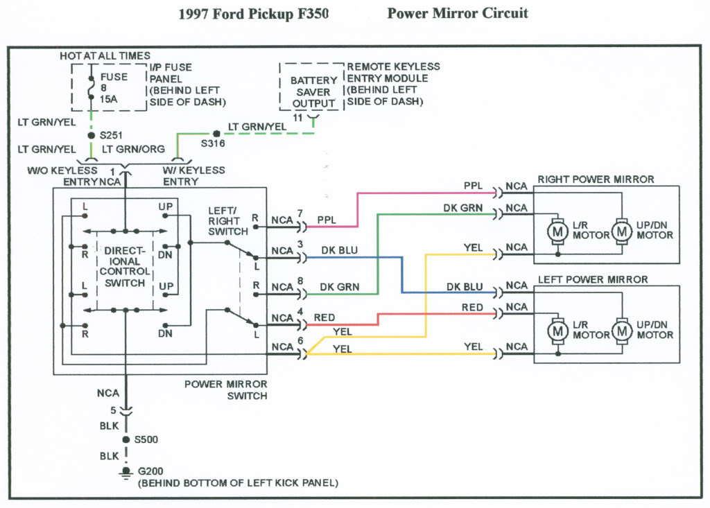 Mirror Wire Diagram Power Mirror Wiring Diagram Ford F Forum