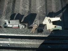 Here are all the pieces to the puzzle. The tools you will need are a #30 torque tip, a 10mm socket, a 6 inch extension, a ratchet, a flat blade screw driver, and a crow bar. Before you get it installed I would recommend cleaning the area well and wiping down all parts before putting them back in. When you get them in and tighten down on the nuts you will then want to set the locking lever so it will work properly, that's where the crow bar and flat blade come in. After all done take some WD-40 and spray the whole thing down real good to insure its usability for the years to come.