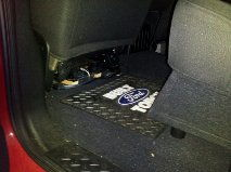 "Amp under driver seat and 12"" subwoofer under rear seats"