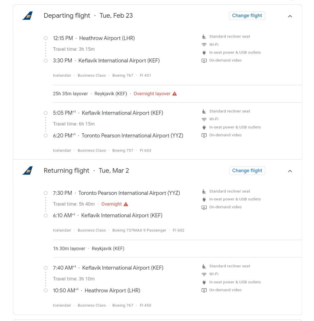 Icelandair Lhr To Yyz From 501 Flyertalk Forums