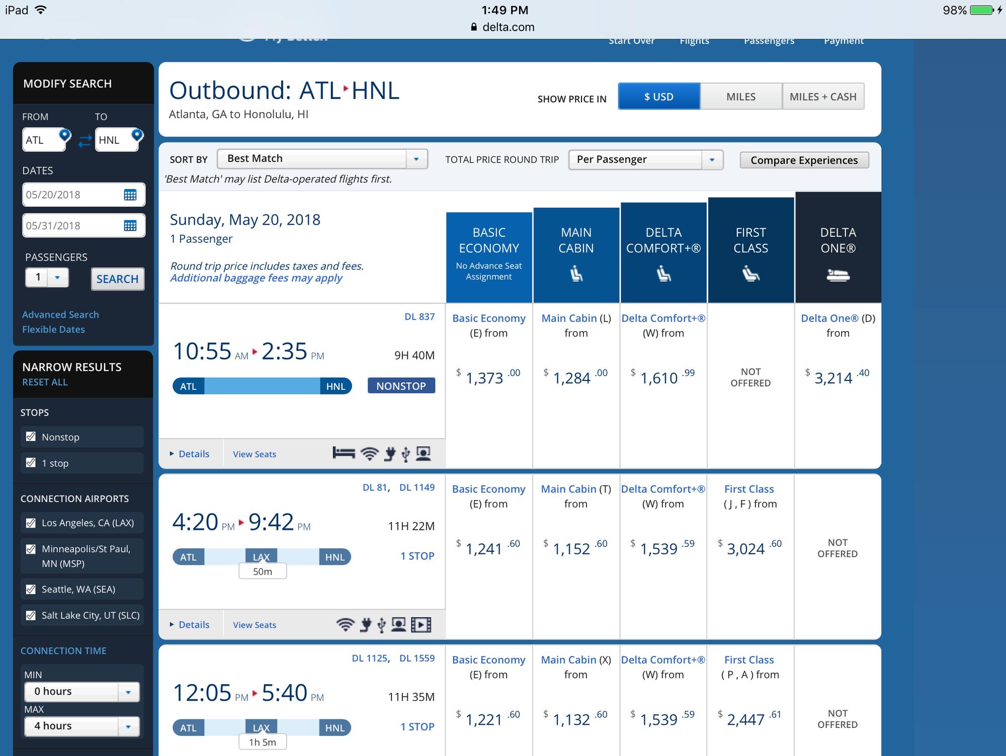 DL to Offer Delta One Service ATL to HNL? - FlyerTalk Forums