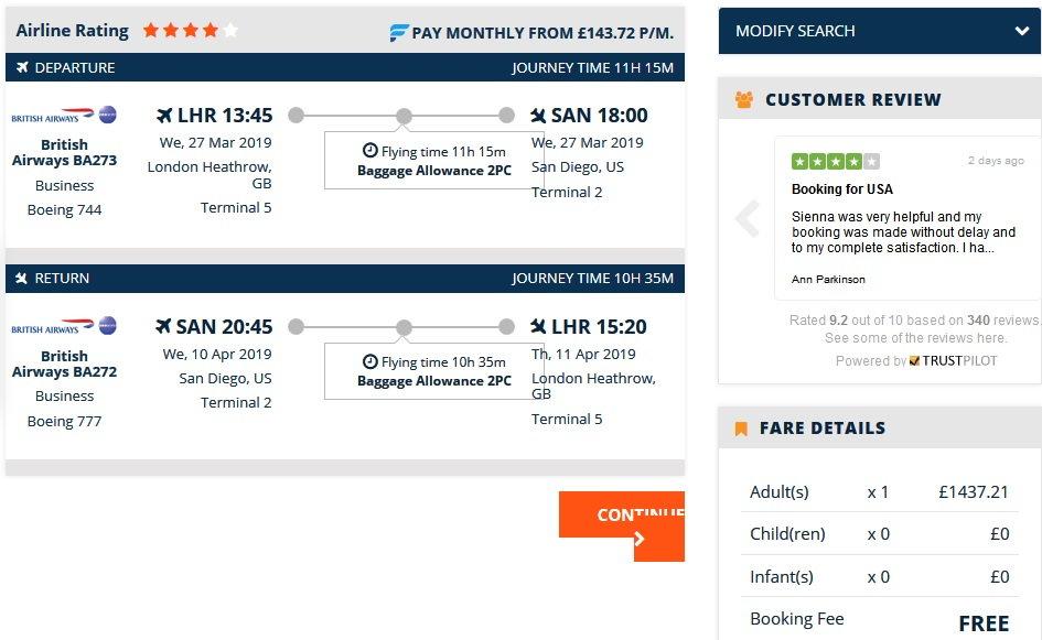 BA LHR-SAN non-stop in Bus £1437 March 2019 - FlyerTalk Forums