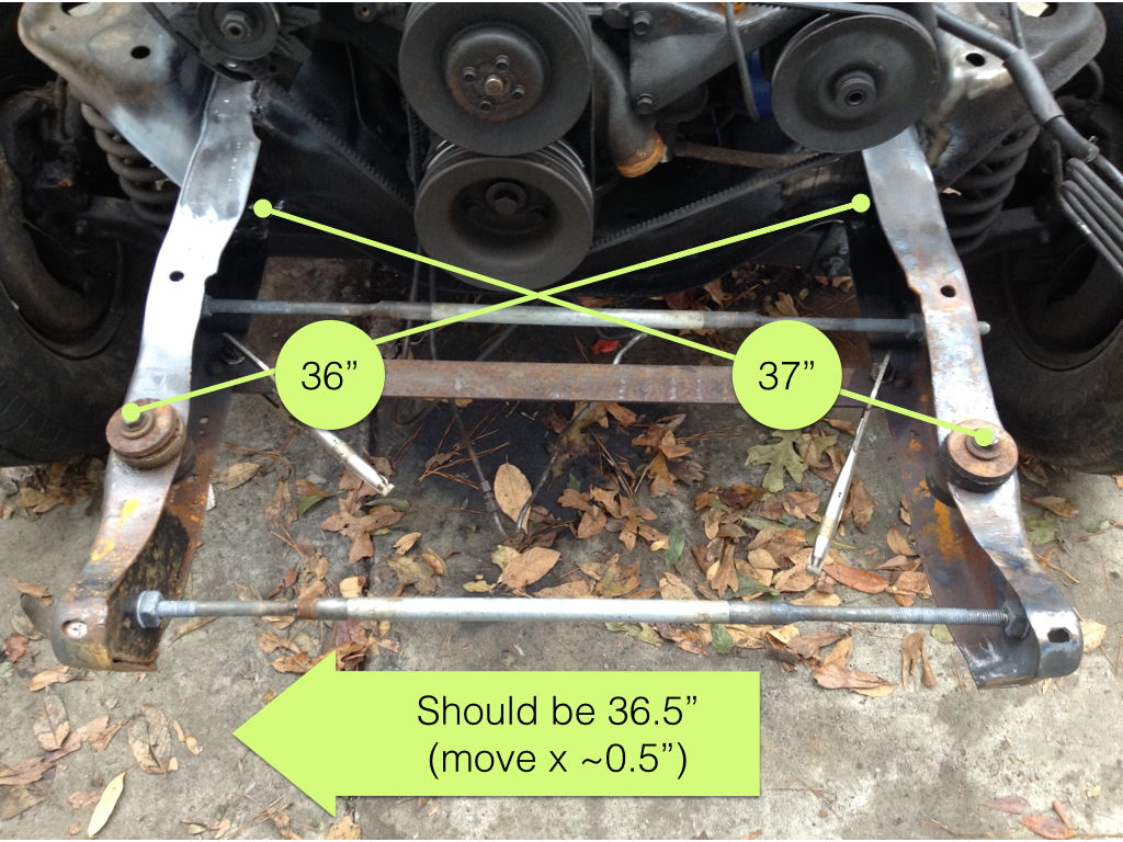 The same measurements on the repaired area yields slightly different numbers for each side it is not square moving both frame rails