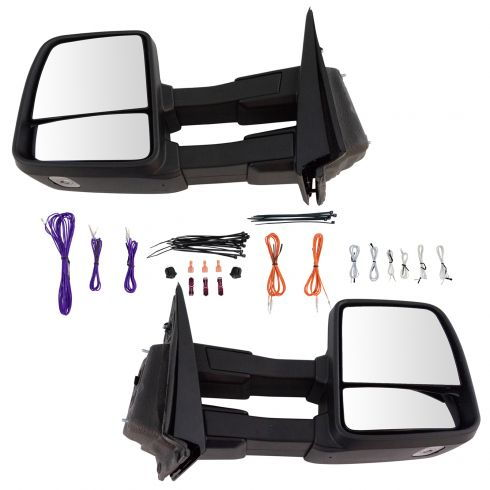Trail Ridge Tow Mirror Power Heated Signal Puddle Light Black Pair Set for F150