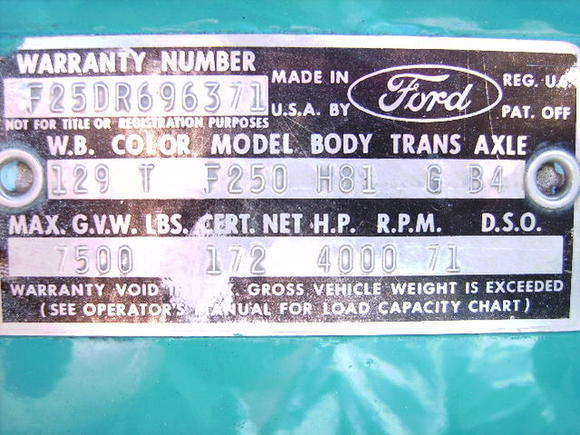 truck chassis plate